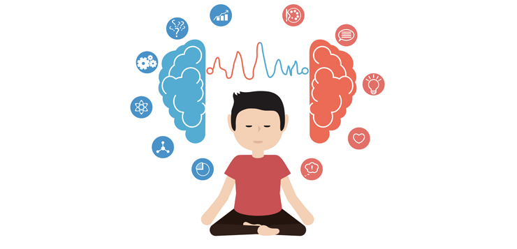 cartoon man meditating - mindfulness